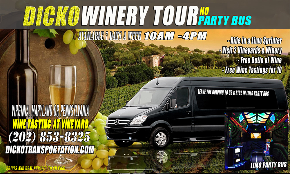 Dicko Limo Party Bus Vineyard & Winery Tour